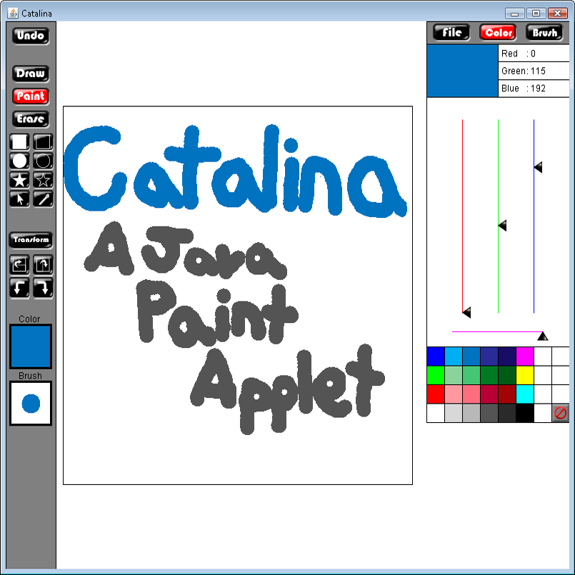 Catalina: a Java Paint Applet